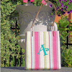 Monogrammed Straw Hand Bag