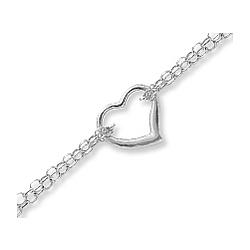 14k White Gold Fine Heart Link Elegant Ankle Bracelet
