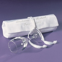 Mazel Tov Groom's Glass in Satin Bag