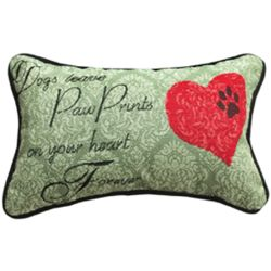 Dogs Leave Pawprints on Your Heart Forever Pillow