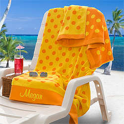 Yellow and Orange Personalized Oversized Beach Towel