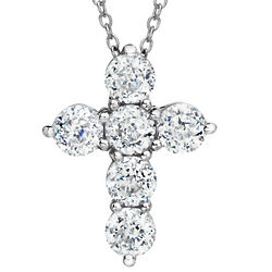 Sterling Silver Simulated Diamond Cross Pendant