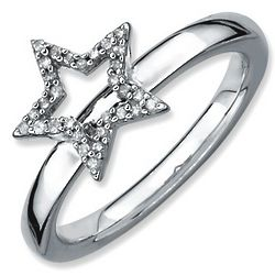 Diamond Star Stackable Ring