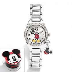 Mickey Mouse Silver Tone Crystal Charm Watch