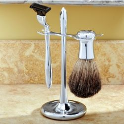 Engravable Chrome-Plated Men's Shaving Set