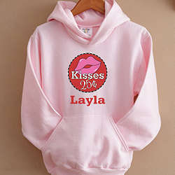 Personalized Kisses for 25 Cents Girl's Pink Sweatshirt