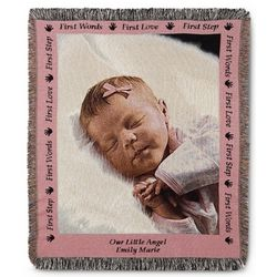 Baby Photo Blanket with Pink Border