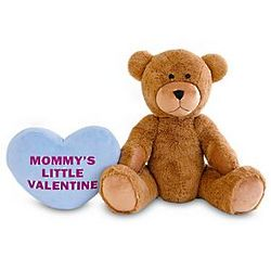 Giant Teddy Bear with Personalized Light Blue Plush Heart