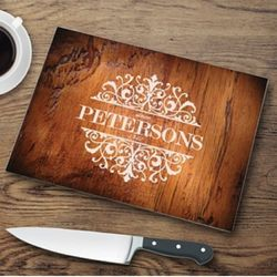 Rosewood Personalized Glass Cutting Board