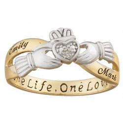 Couples Two-Tone Claddagh Name Ring with Diamond Accent
