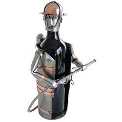 Handmade Fireman Recycled Metal Wine Caddy