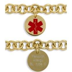 Engraved Round Medical Alert ID Bracelet
