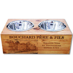 Double Bowl Elevated Dog Feeder from Wine Crates