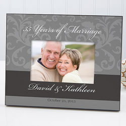 Personalized Floral Wedding and Anniversary Picture Frame
