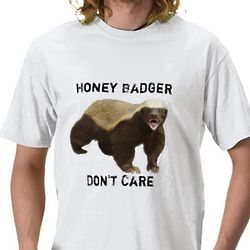 Honey Badger Don't Care White T-Shirt