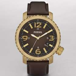 Casual Leather Watch Brown with Vintaged Bronze