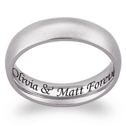 Stainless Steel Engraved Classic Wedding Band