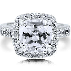 Sterling Silver Cubic Zirconia Cushion Cocktail Right Hand Ring