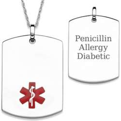 Sterling Silver Engraved Medical ID Dog Tag Necklace