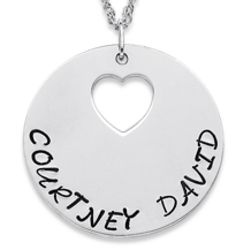 Sterling Silver Hand Stamped Couple's Heart-Disc Necklace