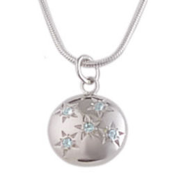 Reversible Starry Sky Aquamarine and Sterling Silver Pendant