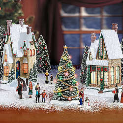 Thomas Kinkade Winter Splendor Illuminated Christmas Village Set