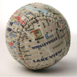 Chicago's Wrigley Park Map Baseball