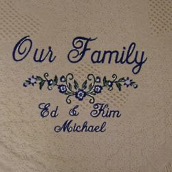 """Our Family"" Personalized Embroidered Afghan"