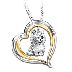 Purr-fect Companion Heart Shaped Cat Pendant Necklace