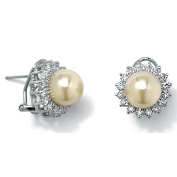 Simulated Pearl Silver Earrings
