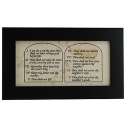Ten Commandments Jerusalem Stone Black Framed Wall Plaque
