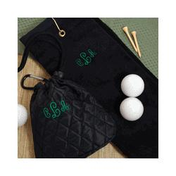 Personalized Golf Towel & Quilted Pouch Set