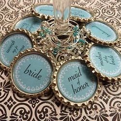 Custom Bridal Party Bottle Cap Wine Charms