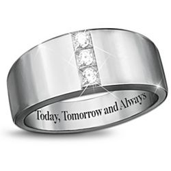 "Men's ""Today, Tomorrow and Always"" 3 Diamond Ring"