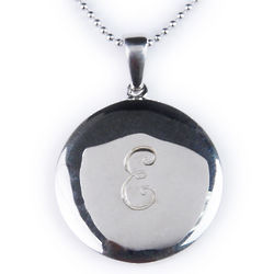 Sterling Silver Script Initial Engraved Pendant