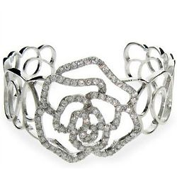 Rose Cubic Zirconia Cuff Bracelet