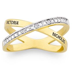 Couple's Diamond Crossover Name Ring