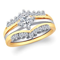 Two-Piece Interlocking Cubic Zirconia Wedding Ring Set