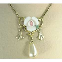 White Rosette Necklace