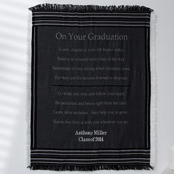 Striped Personalized Graduation Throw Blanket