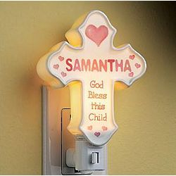 Girl's Personalized Porcelain Cross Nightlight