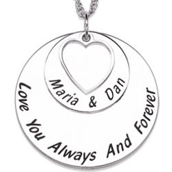 Sterling Silver Couple's Mini Heart and Discs Pendant
