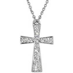 Swarovski Crystal Cross and Faith Pendant in Sterling Silver