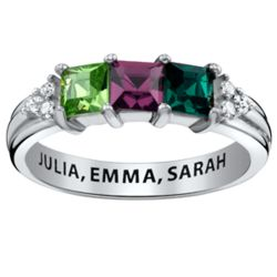 Sterling Silver Mothers Square Birthstone Ring