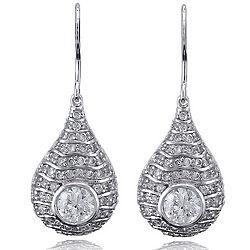 Sterling Silver Teardrop Shaped Cubic Zirconia Dangle Earrings