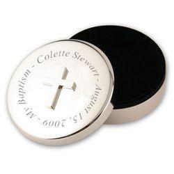 Silver Baptism Cross Trinket Box