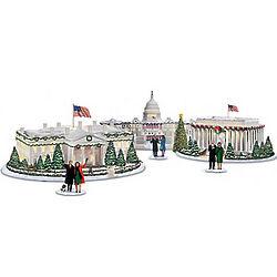 Illuminated Washington, DC Christmas Village with Obama Figurine