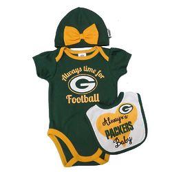 Newborn Girl's Green Bay Packers Onesie, Bib, and Hat
