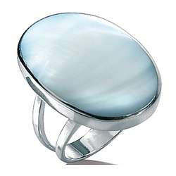 Blue Mother of Pearl Silver Ring