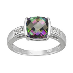 Diamond & Mystic Green Topaz Ring in 14K White Gold